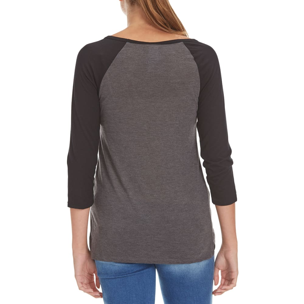 ANTI YOU Juniors' Patches Raglan ¾ Sleeve Tee - CHARCOAL HTHR/BLK