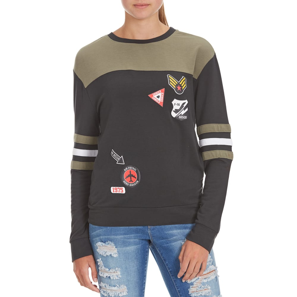 HYBRID Juniors' Air Force Patches Stripe Sleeve Pullover - PHANTOM/OLIVE