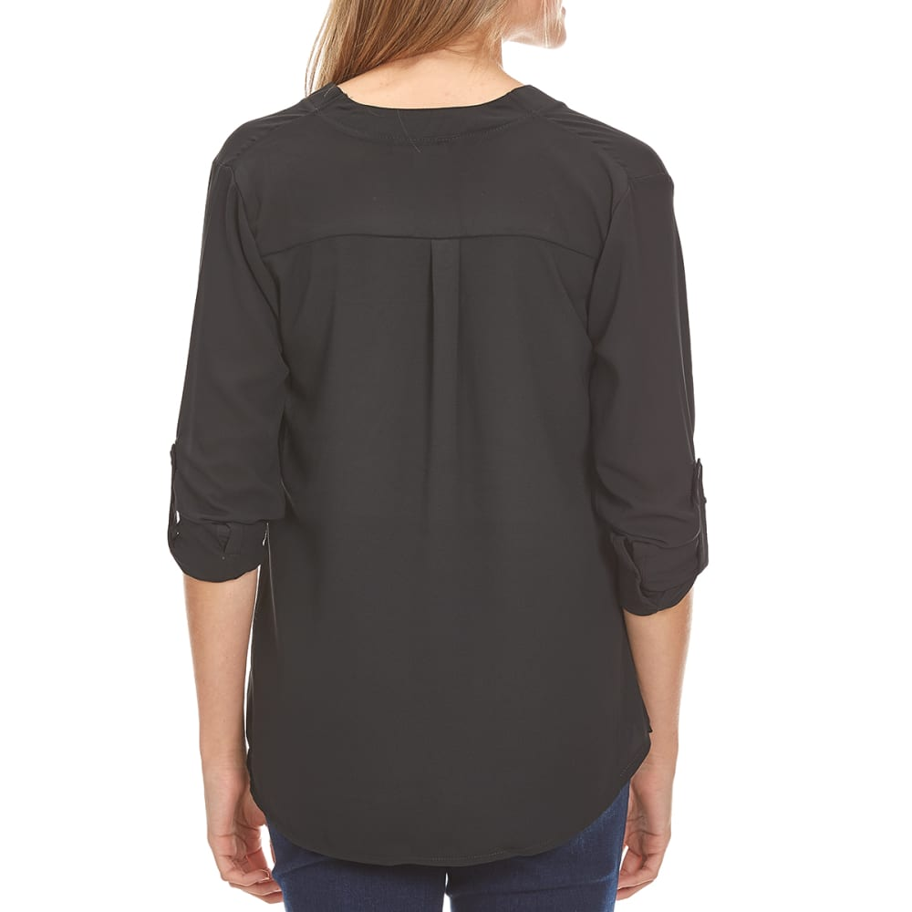 ZENANA Juniors' Double Chest Flap Pocket 3/4 Sleeve Woven Top - BLACK