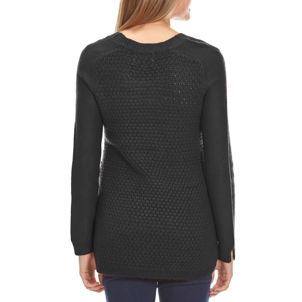 AMBIANCE Juniors' Cable-Knit High-Low Hem Sweater - BLACK