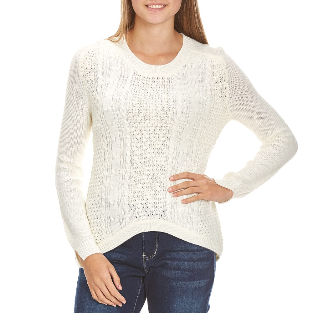 AMBIANCE Juniors' Cable-Knit High-Low Hem Sweater - IVORY