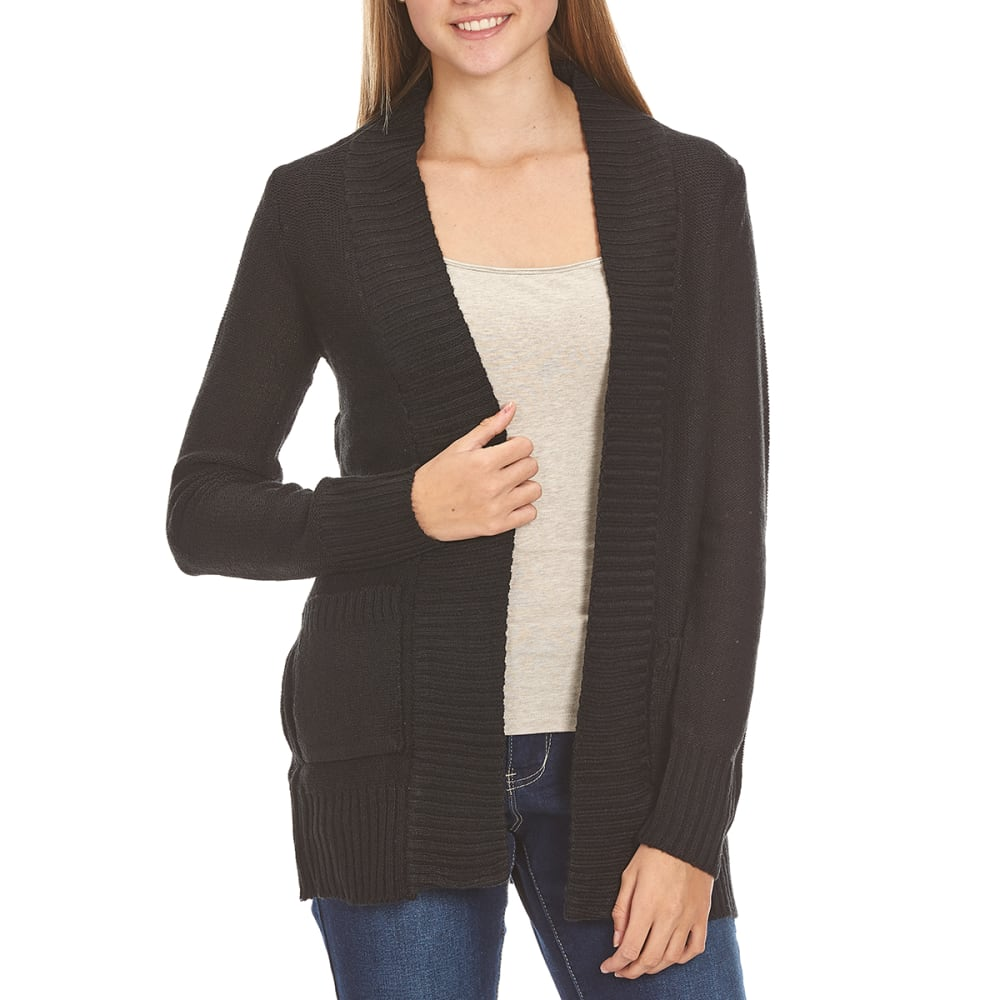 AMBIANCE Juniors' Grandpa Two-Pocket Cardigan - BLACK
