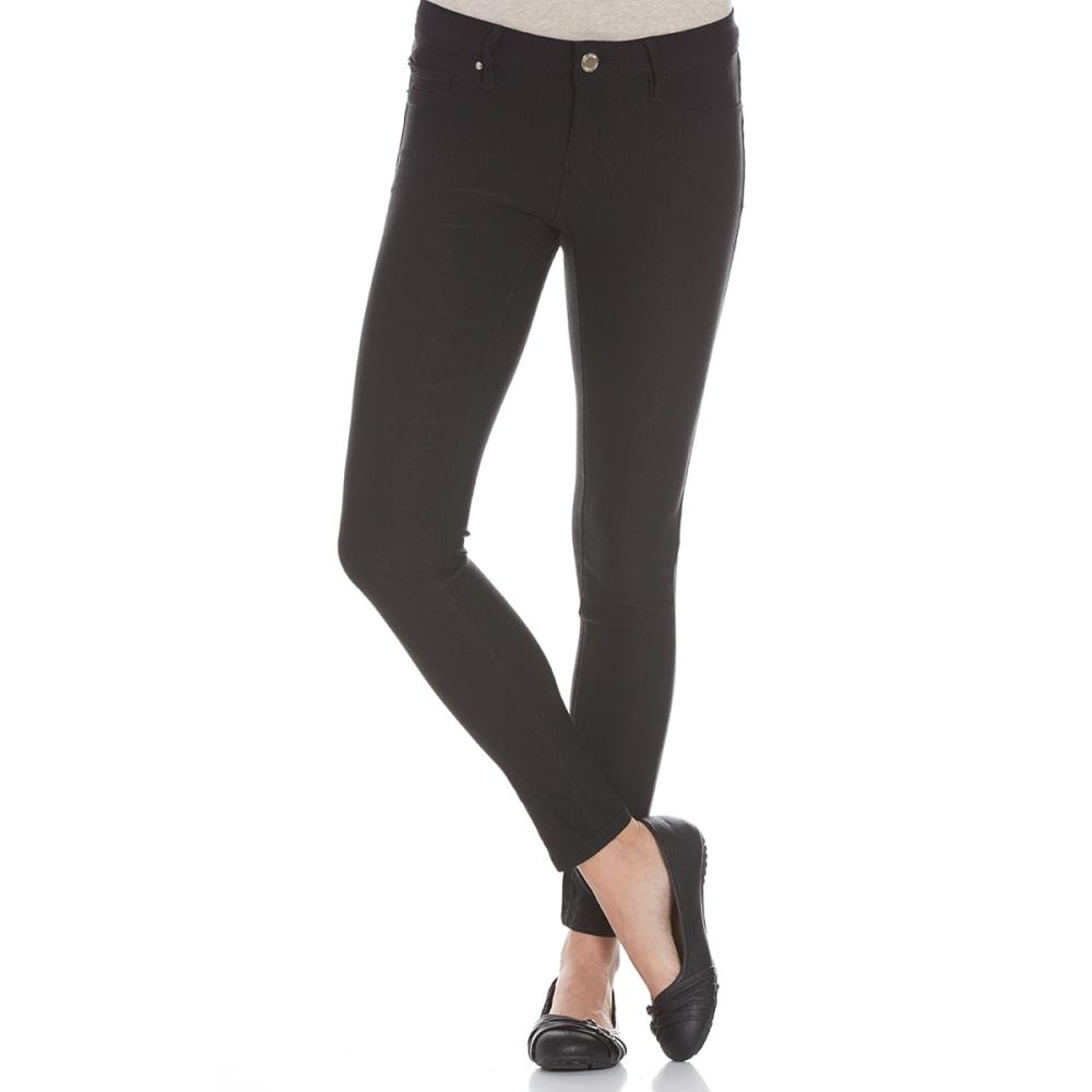 YMI Juniors' Hyperfleece Skinny Twill Fleece-Lined Jeans - BLACK