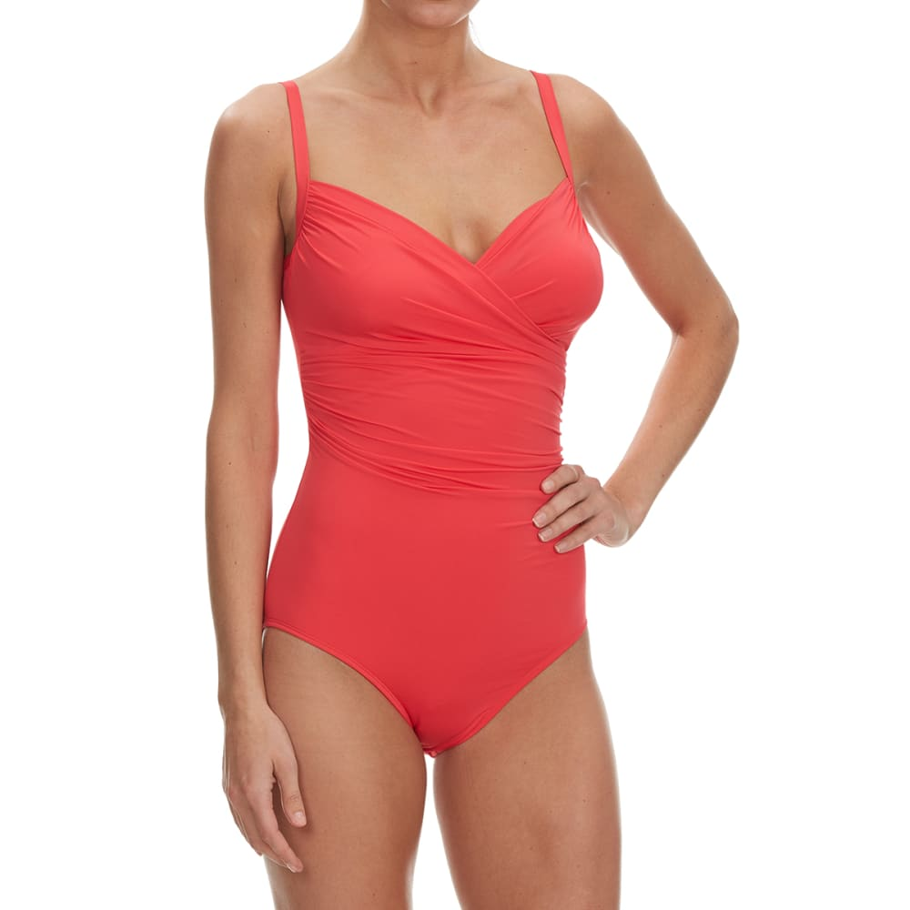 JANTZEN Women's Solid Surplice One Piece Swimsuit - 693-CORAL