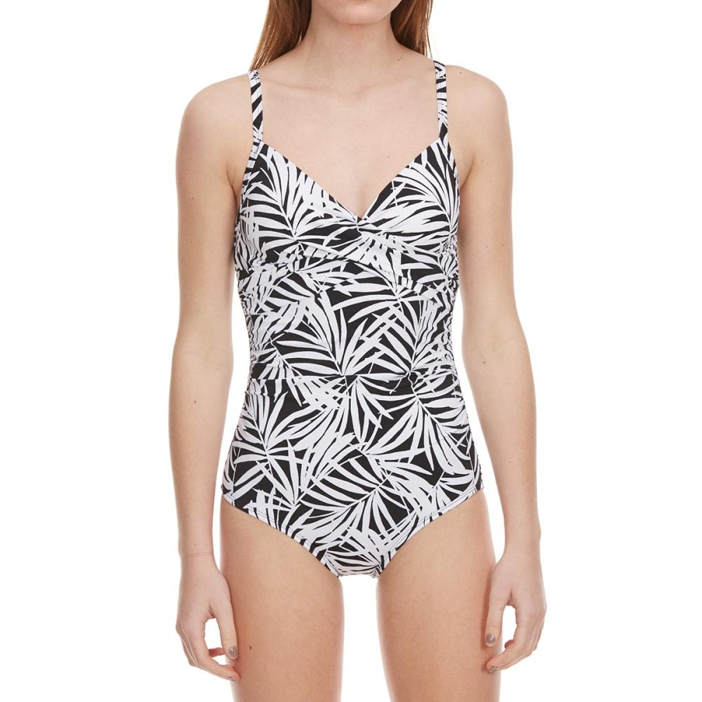 JANTZEN Women's Print Twist Bust One Piece Swimsuit - 001-BLK/WHT PALM