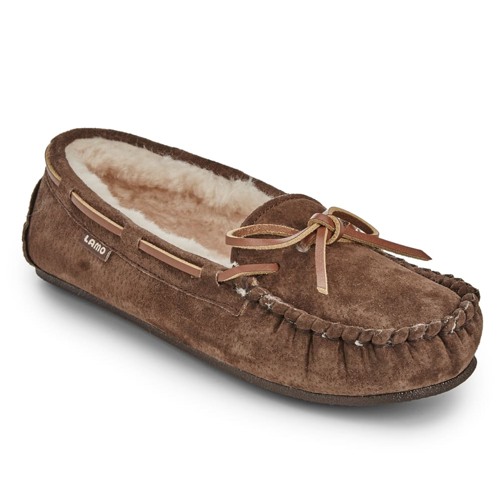 LAMO Women's Kayla Sherpa Moccasin Slippers, Chocolate - CHOCOLATE