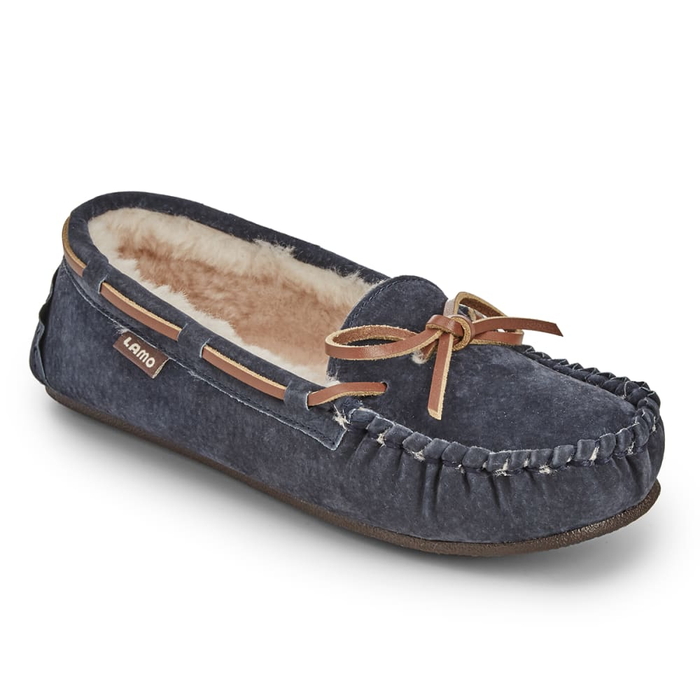 LAMO Women's Kayla Sherpa Moccasin Slippers, Navy - NAVY