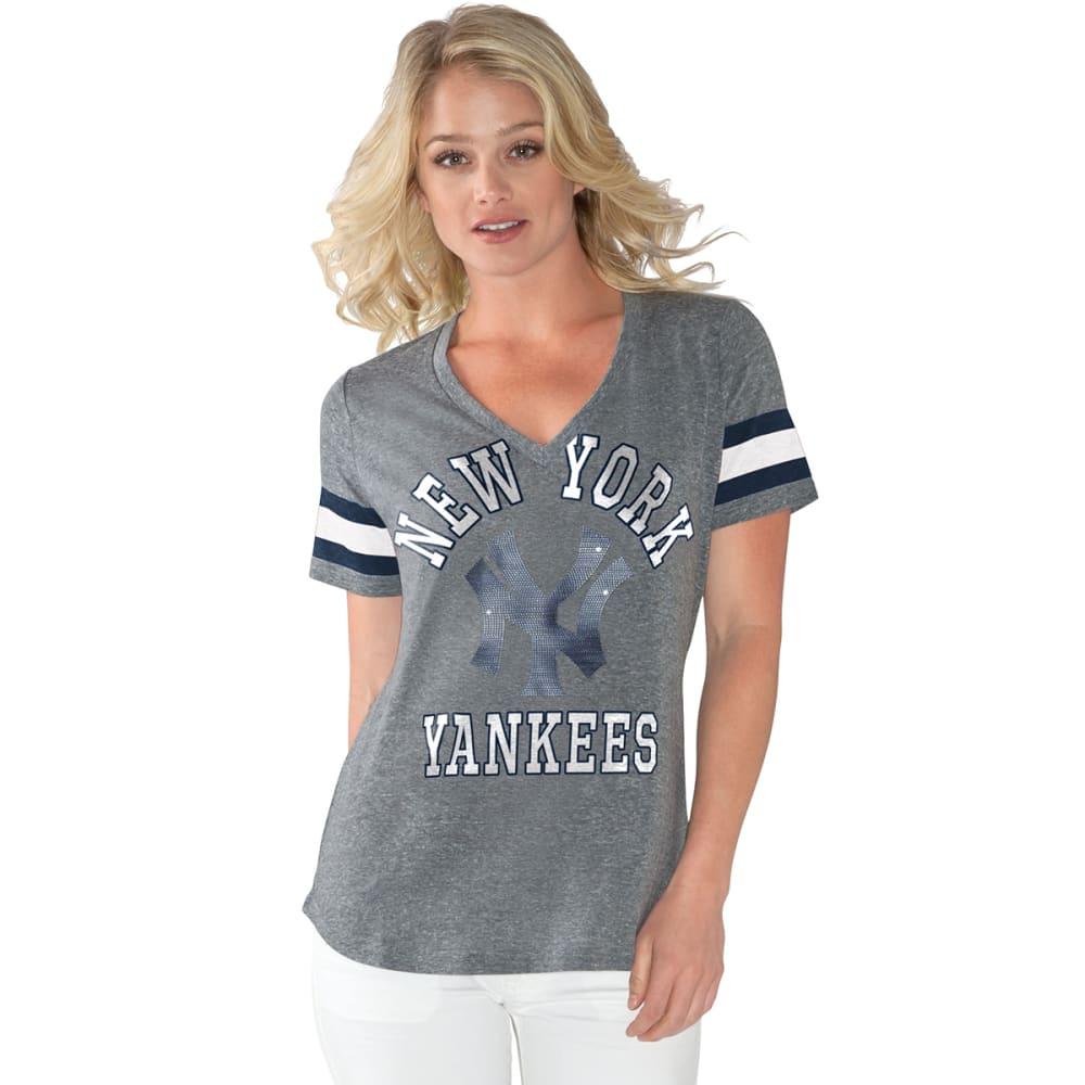 NEW YORK YANKEES Women's Triple Play Short-Sleeve Tee - GREY-NYY