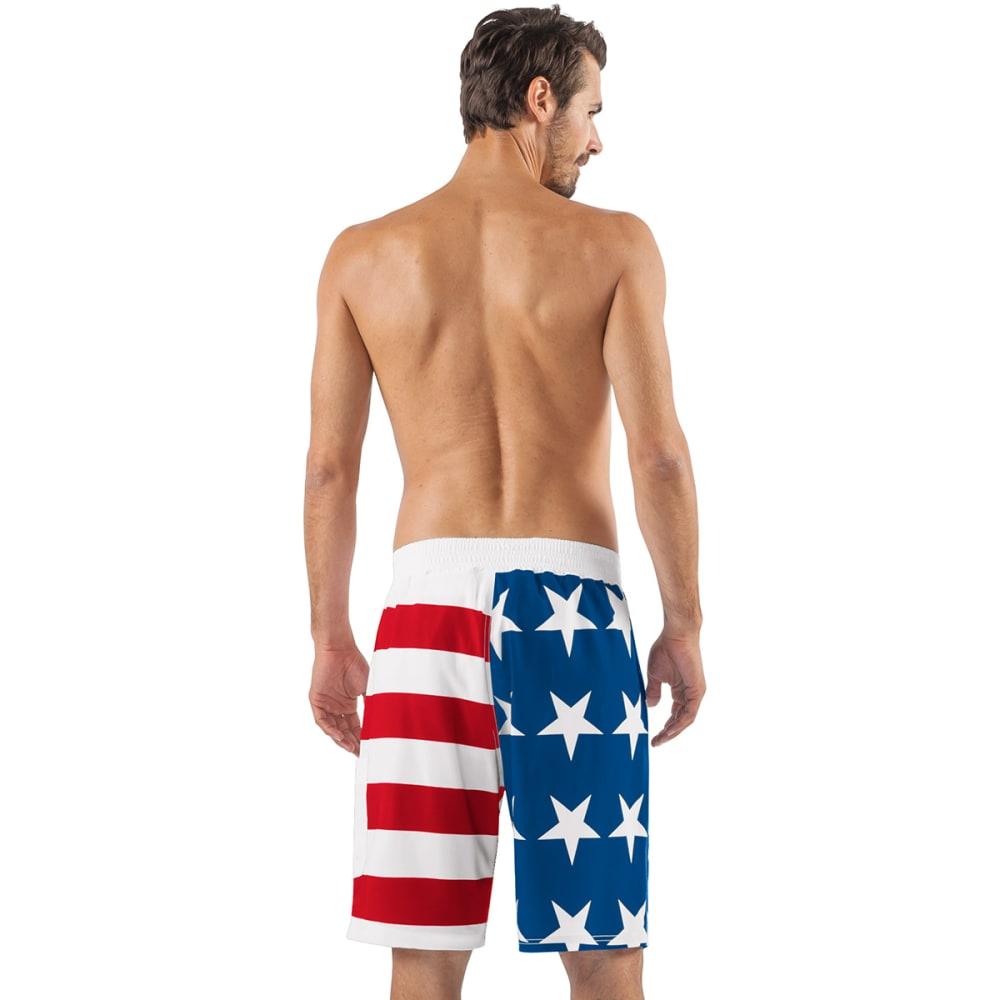 NEW YORK METS Men's Americana Swim Trunks - RED/WHITE/BLUE-NYM