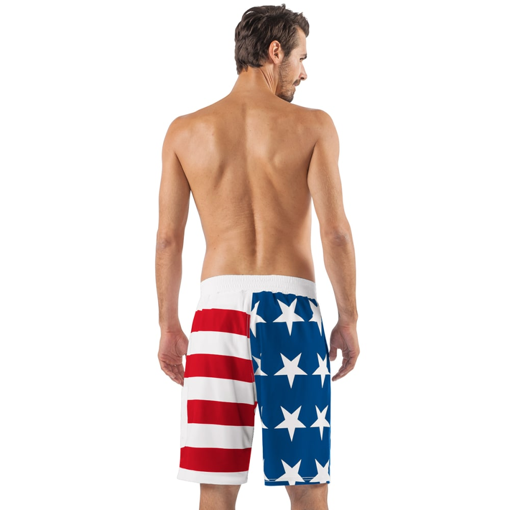 NEW YORK YANKEES Men's Americana Swim Trunks - RED/WHITE/BLUE-NYY