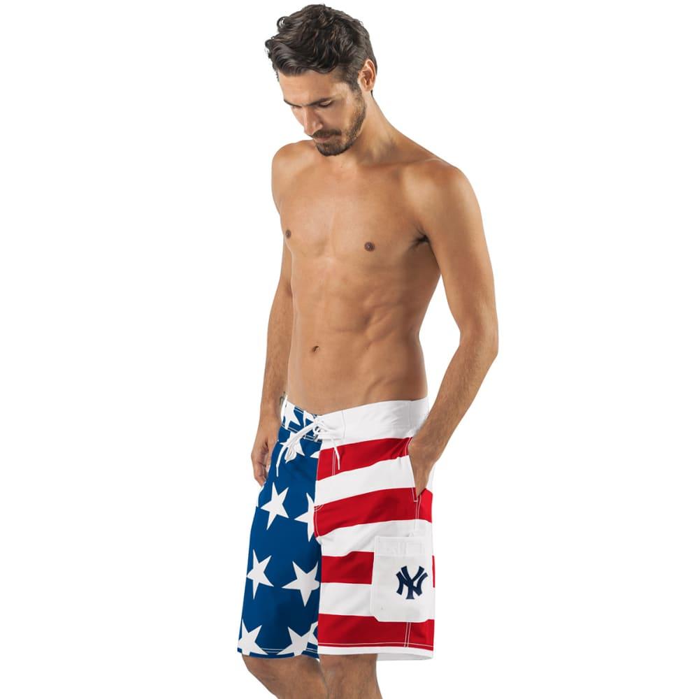 NEW YORK YANKEES Men's Americana Swim Trunks - RED/WHITE/BLUE-NYY