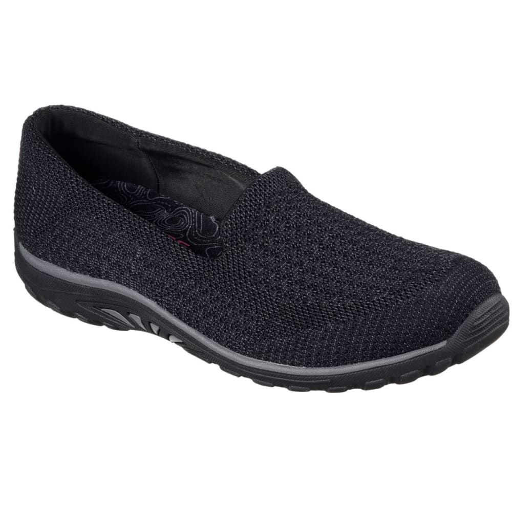 SKECHERS Women's Reggae Fest Knit Skimmer Shoes - BLACK