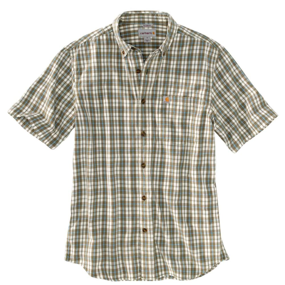 Carhartt Men's Essential Plaid Button Down Short-Sleeve Shirt - Green, S