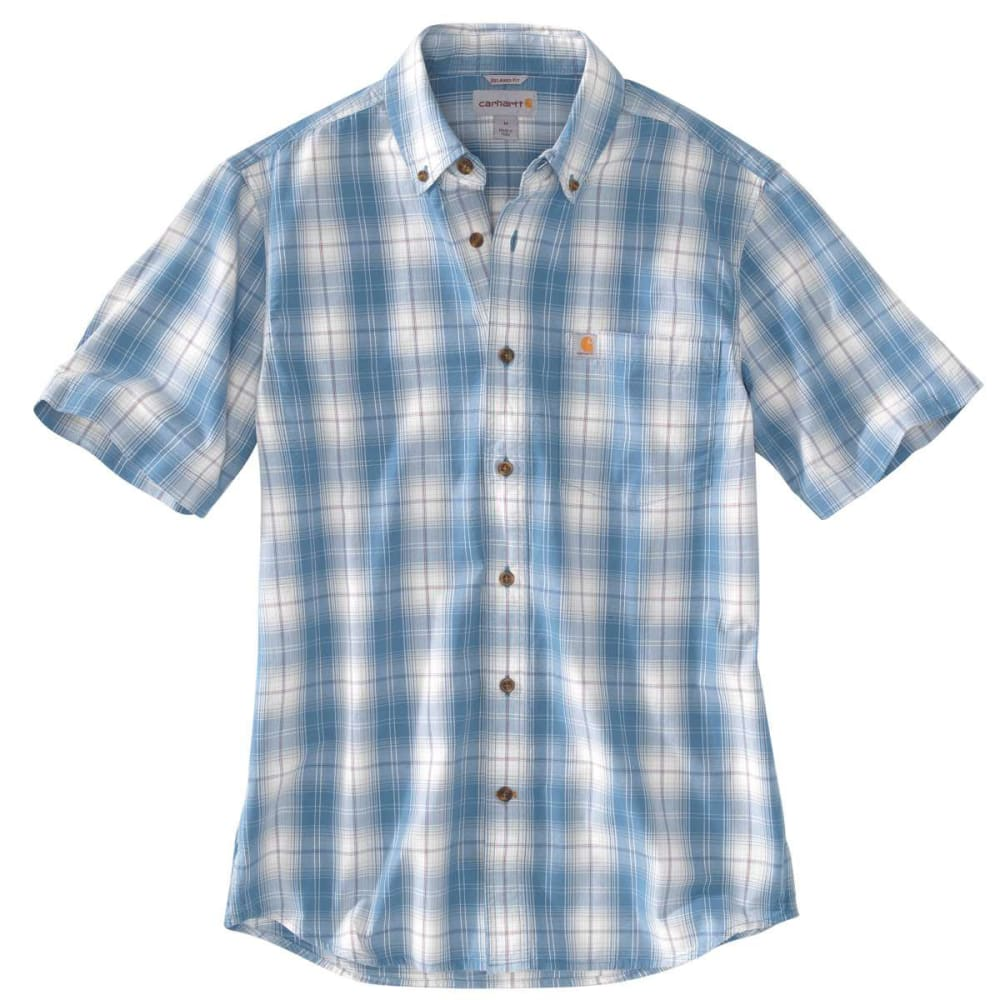 CARHARTT Men's Essential Plaid Button Down Short-Sleeve Shirt - BLUE LAGON 429