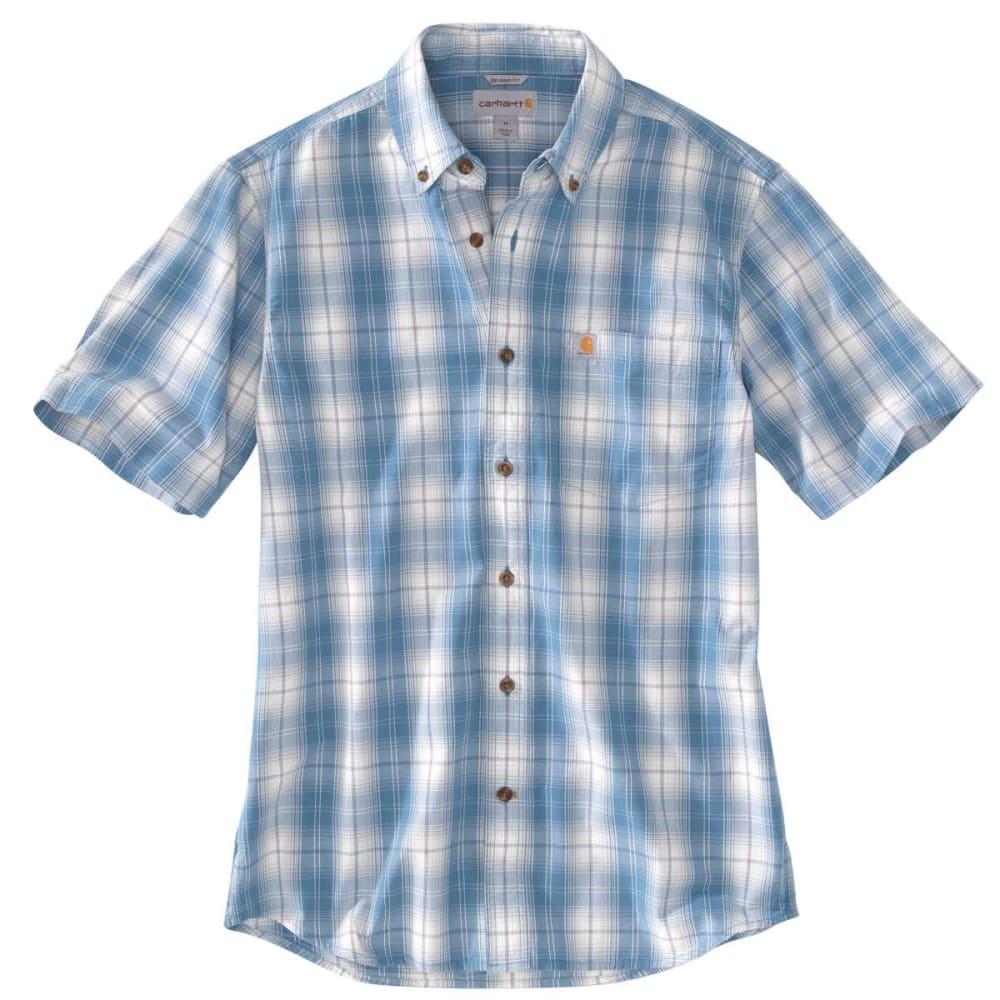 CARHARTT Men's Essential Plaid Button Down Short-Sleeve Shirt - BLUE LAGON 429