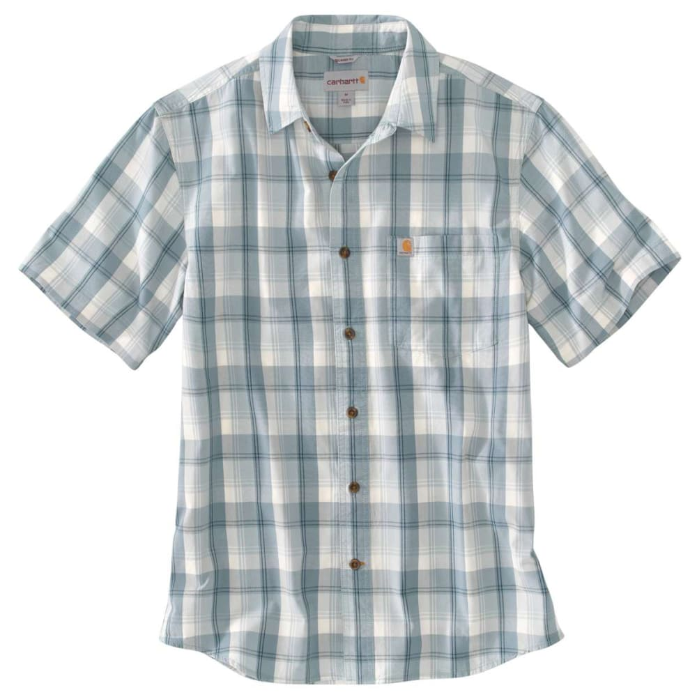 CARHARTT Men's Essential Plaid Open-Collar Short-Sleeve Shirt - MINERAL  BLUE 978