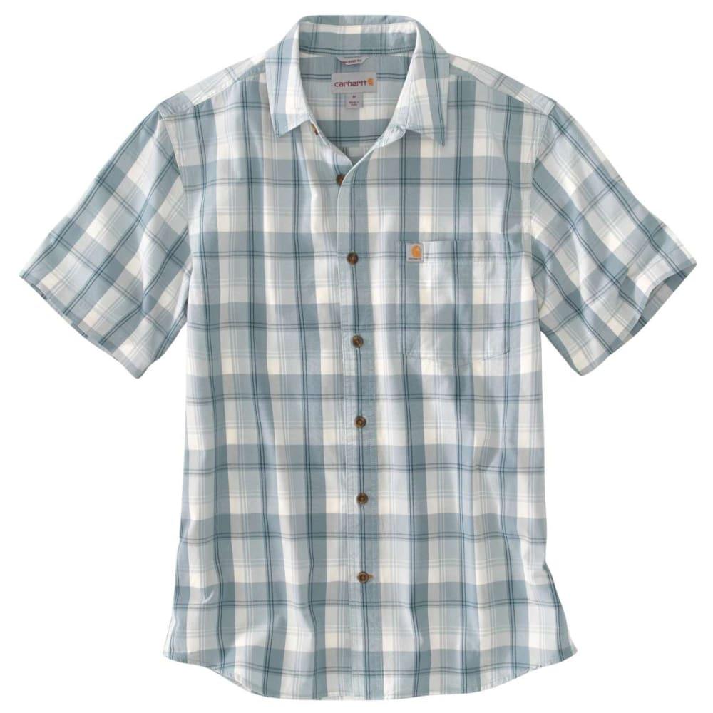 CARHARTT Men's Essential Plaid Open-Collar Short-Sleeve Shirt - MINERAL  BLUE 978