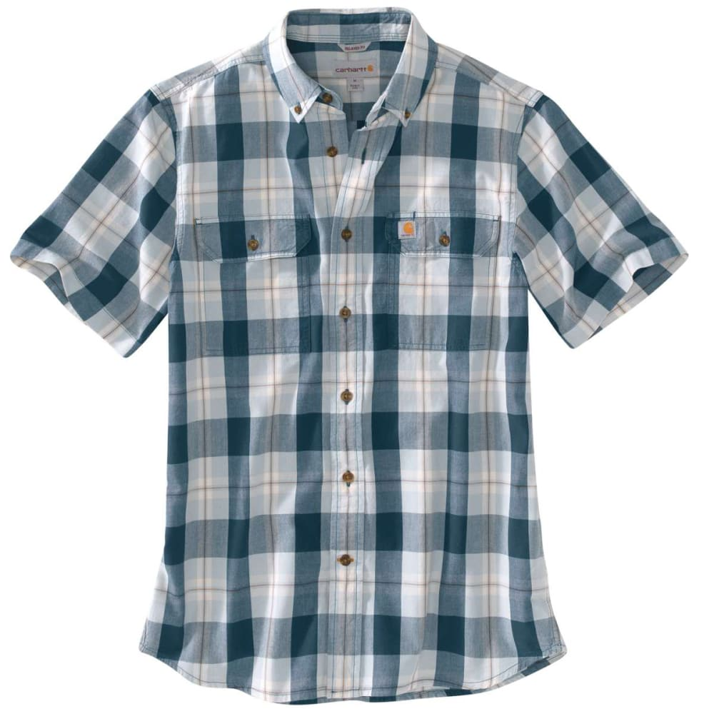 CARHARTT Men's Fort Plaid Chambray Short-Sleeve Shirt - STREAM BLUE 984