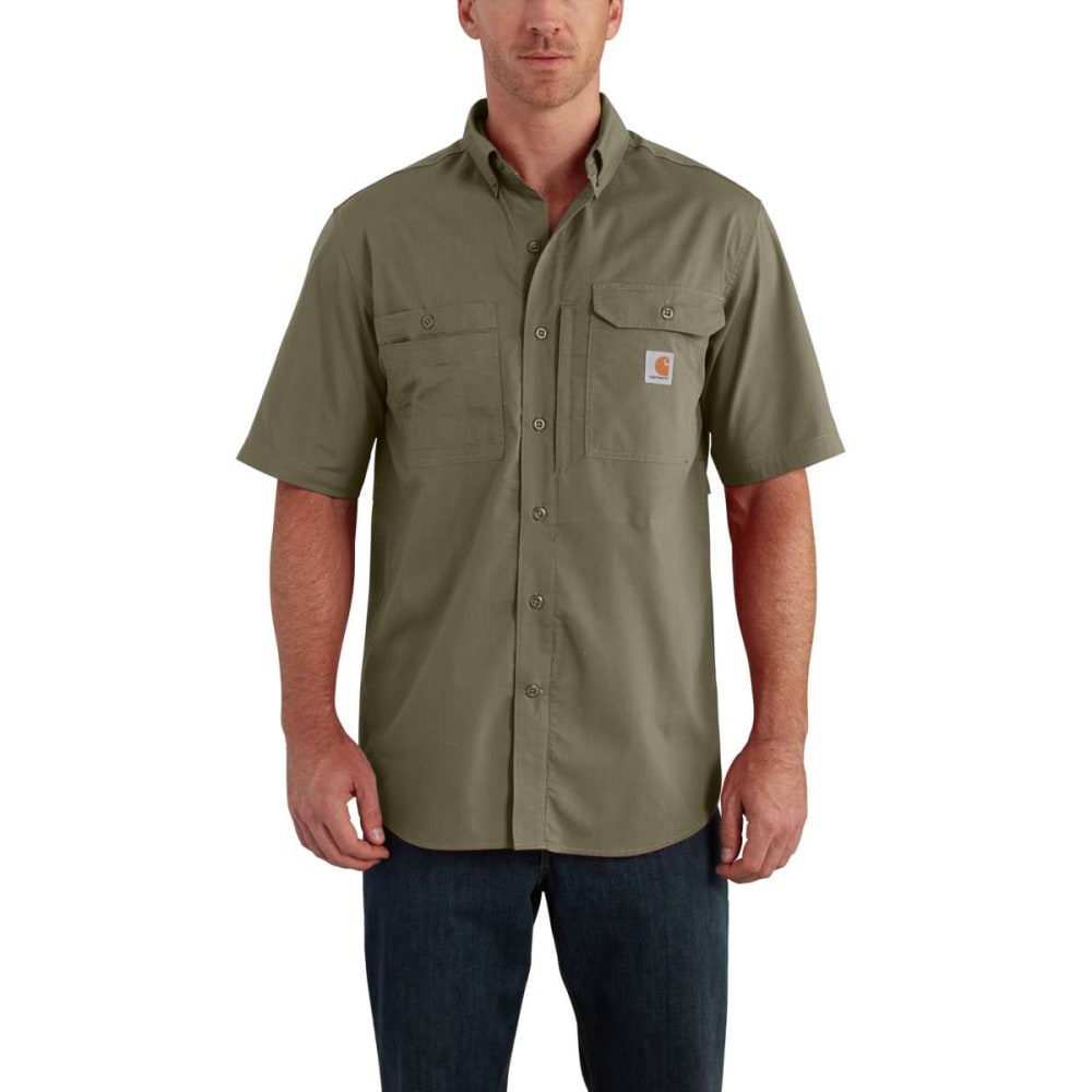 CARHARTT Men's Force Ridgefield Short-Sleeve Shirt - BURNT OLIVE 391