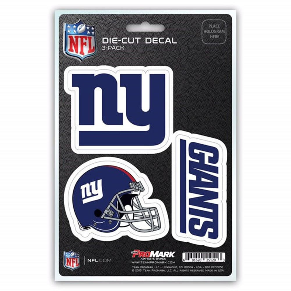 NEW YORK GIANTS Die Cut Decals, 3 Pack - GIANTS