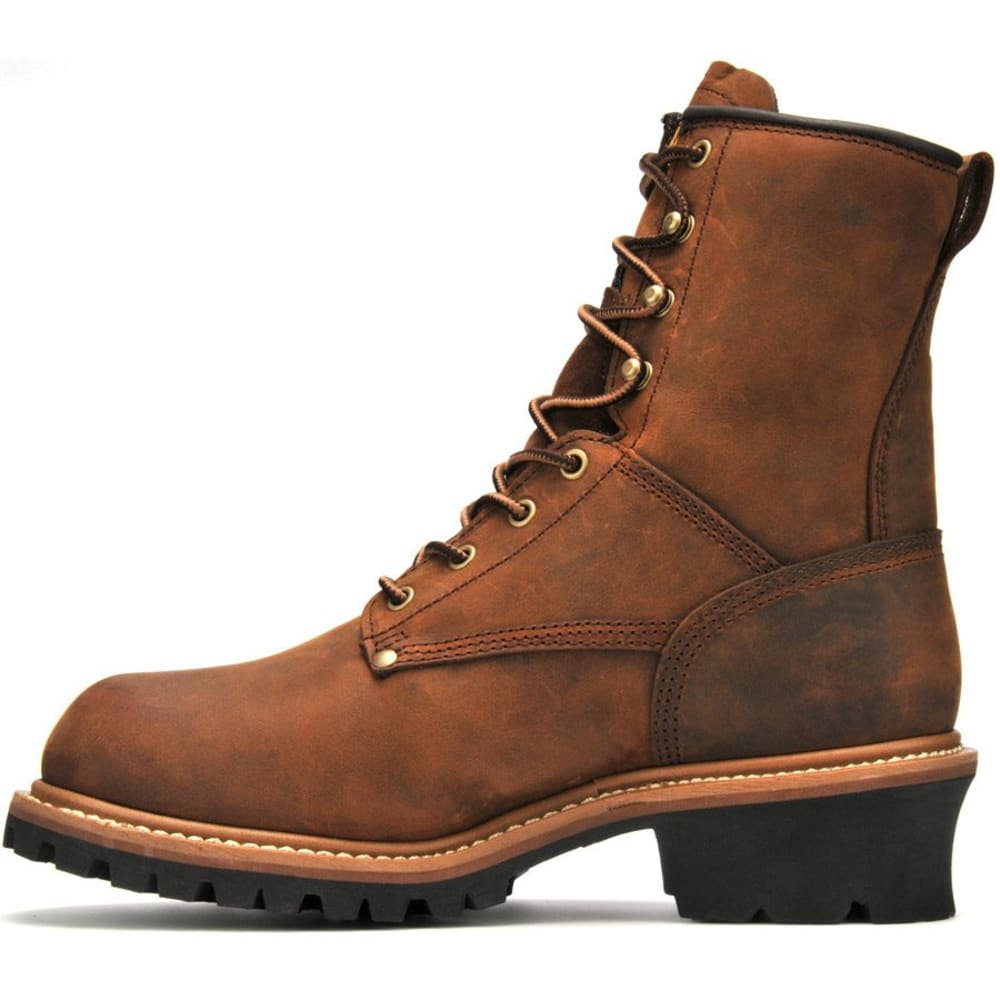 "CAROLINA Men's 8"" Waterproof Insulated Logger Boots, Medium Brown - MEDIUM BROWN"