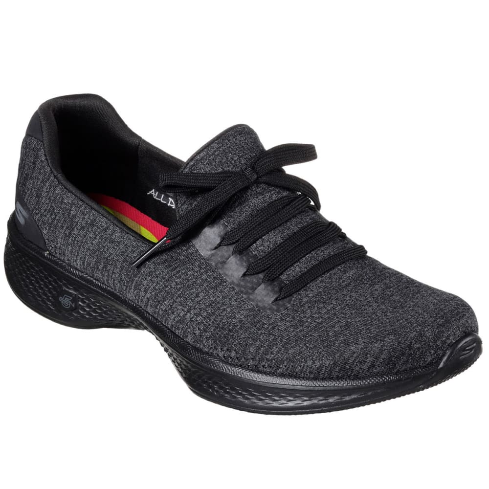 SKECHERS Women's Go Walk 4 – All Day Comfort Walking Shoes, Black/Grey - BLACK/GREY