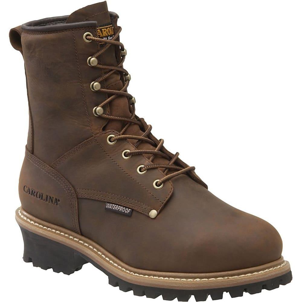"CAROLINA Men's 8"" Waterproof Insulated Steel Toe Internal MetGuard Logger Boots, Dark Brown 8"