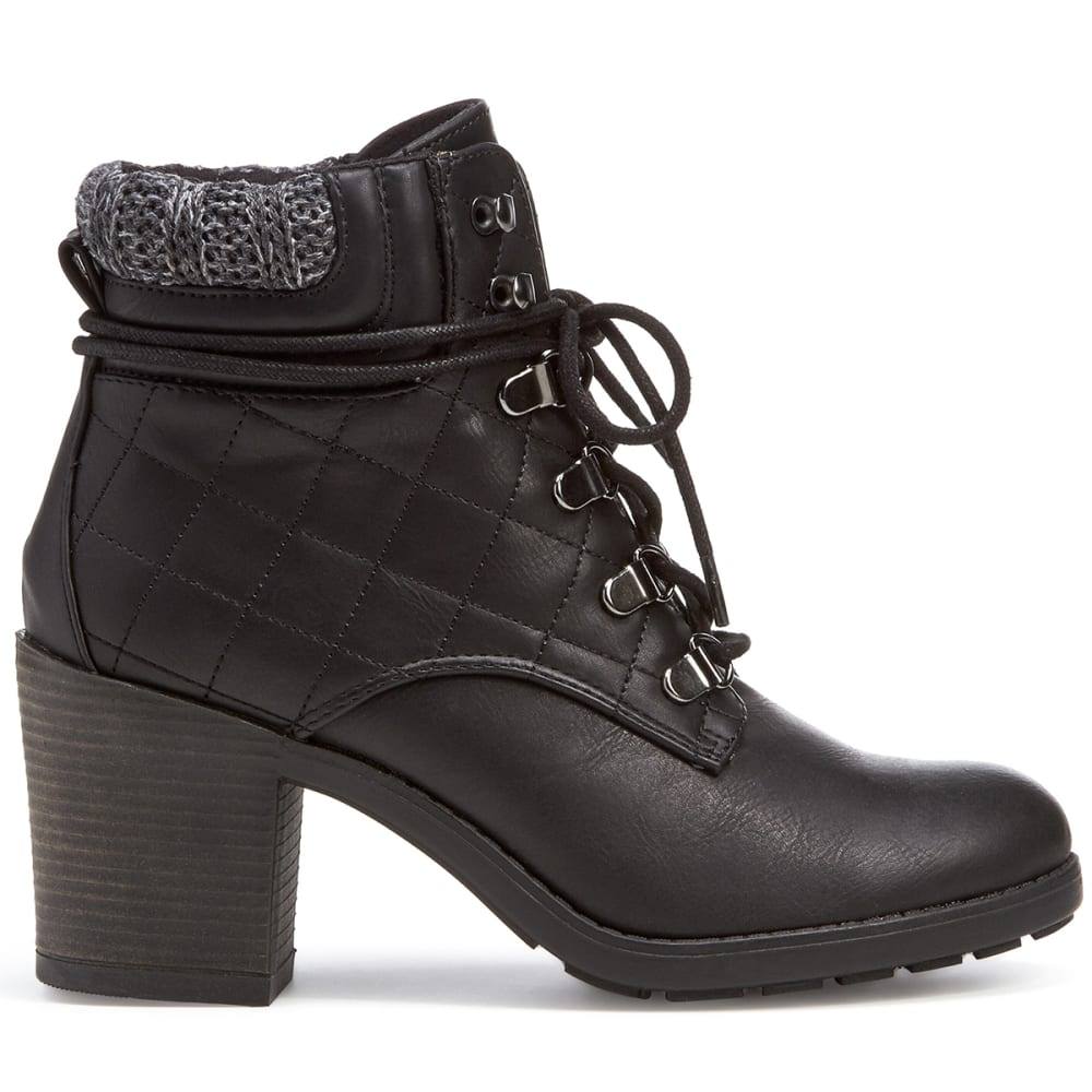 MIA Women's Teddy Lace-Up Ankle Boots, Black - BLACK