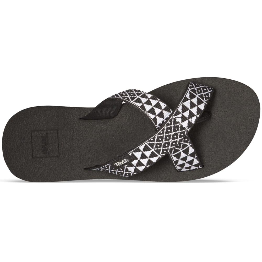TEVA Women's Mush Kalea Flip Flops, Pasa Black/White - BLACK/WHITE