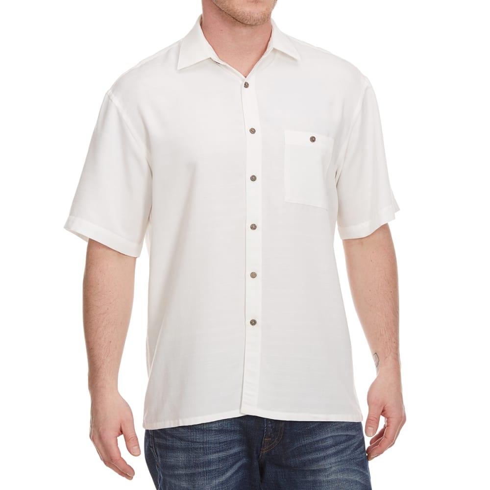 CAMPIA MODA Men's Solid Crepe Woven Short-Sleeve Shirt - NATURAL