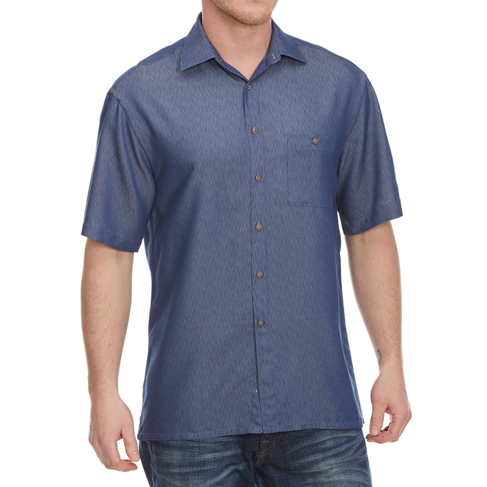 Campia Moda Men's Solid Crepe Woven Short-Sleeve Shirt - Blue, M