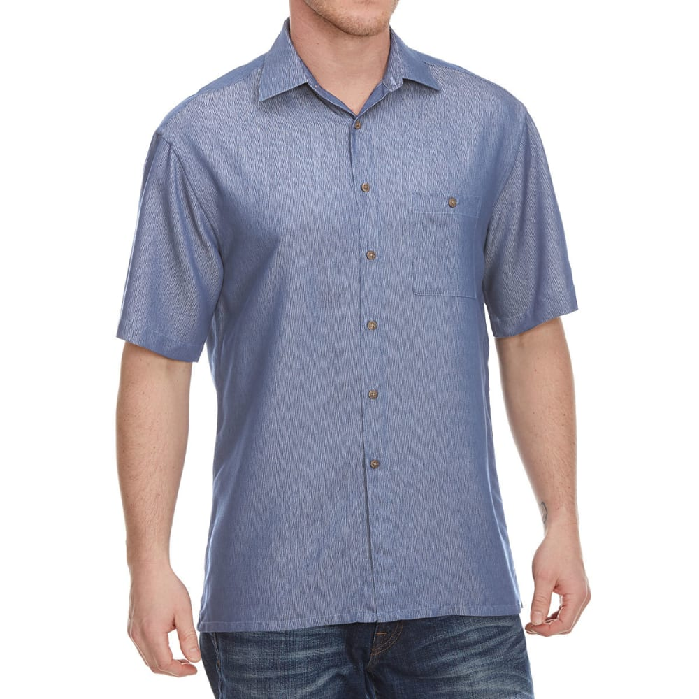 CAMPIA MODA Men's Solid Crepe Woven Short-Sleeve Shirt M