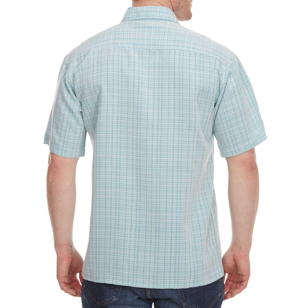 CAMPIA MODA Men's Solid Crepe Woven Short-Sleeve Shirt - AQUA