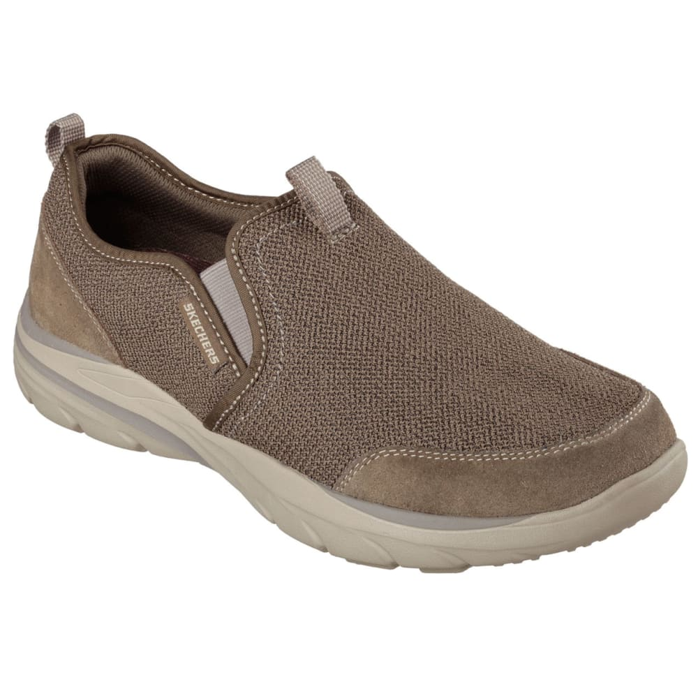 SKECHERS Men's Relaxed Fit: Corven -  Horst Casual Slip-On Shoes, Brown 7.5
