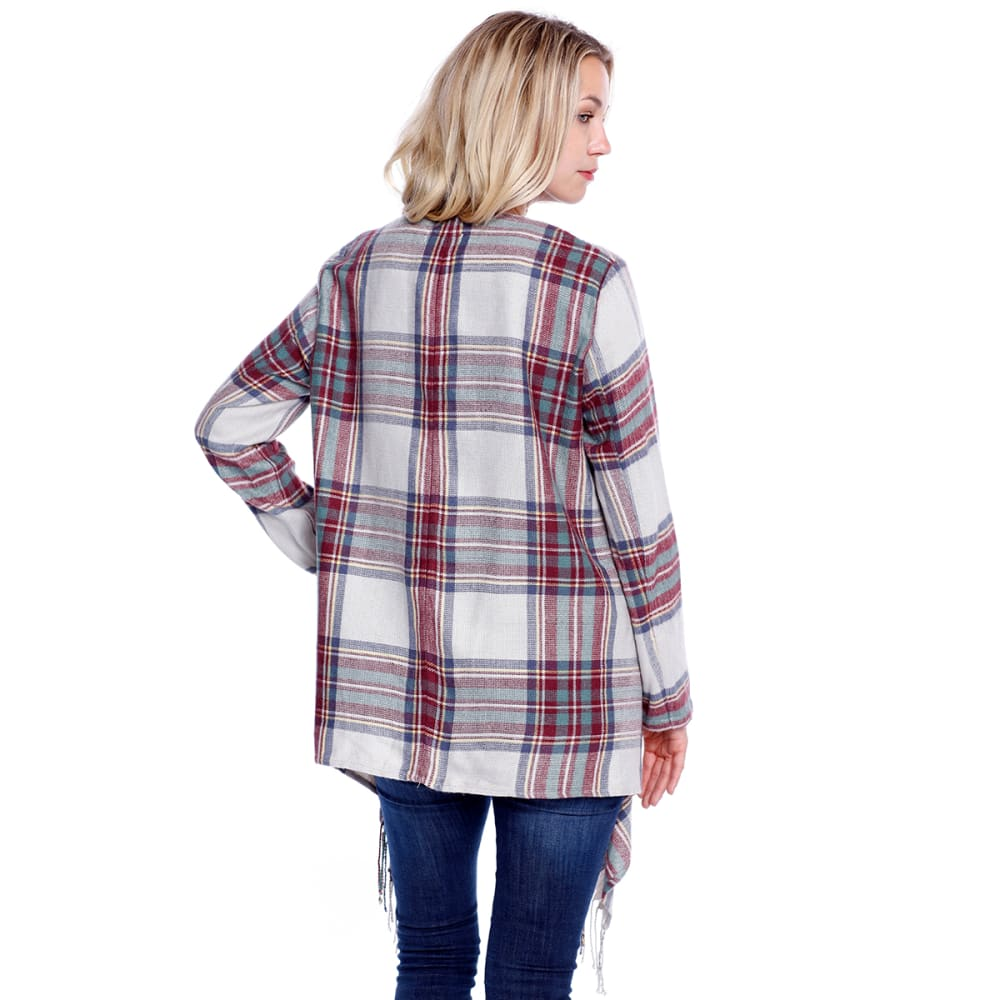 TAYLOR & SAGE Juniors' Plaid Fringe Blanket Cardigan - MUL-MULTI