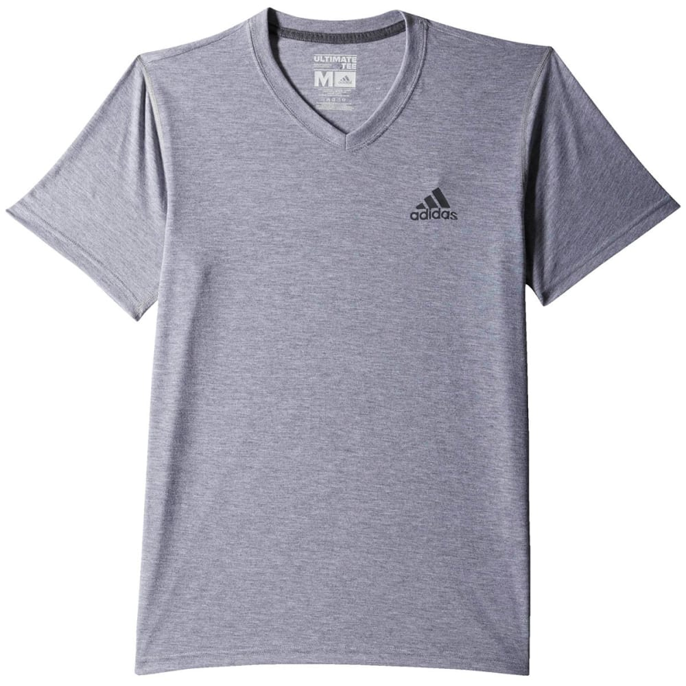 ADIDAS Men's Ultimate V-Neck Training Tee - MED GREY HTHR-S10614