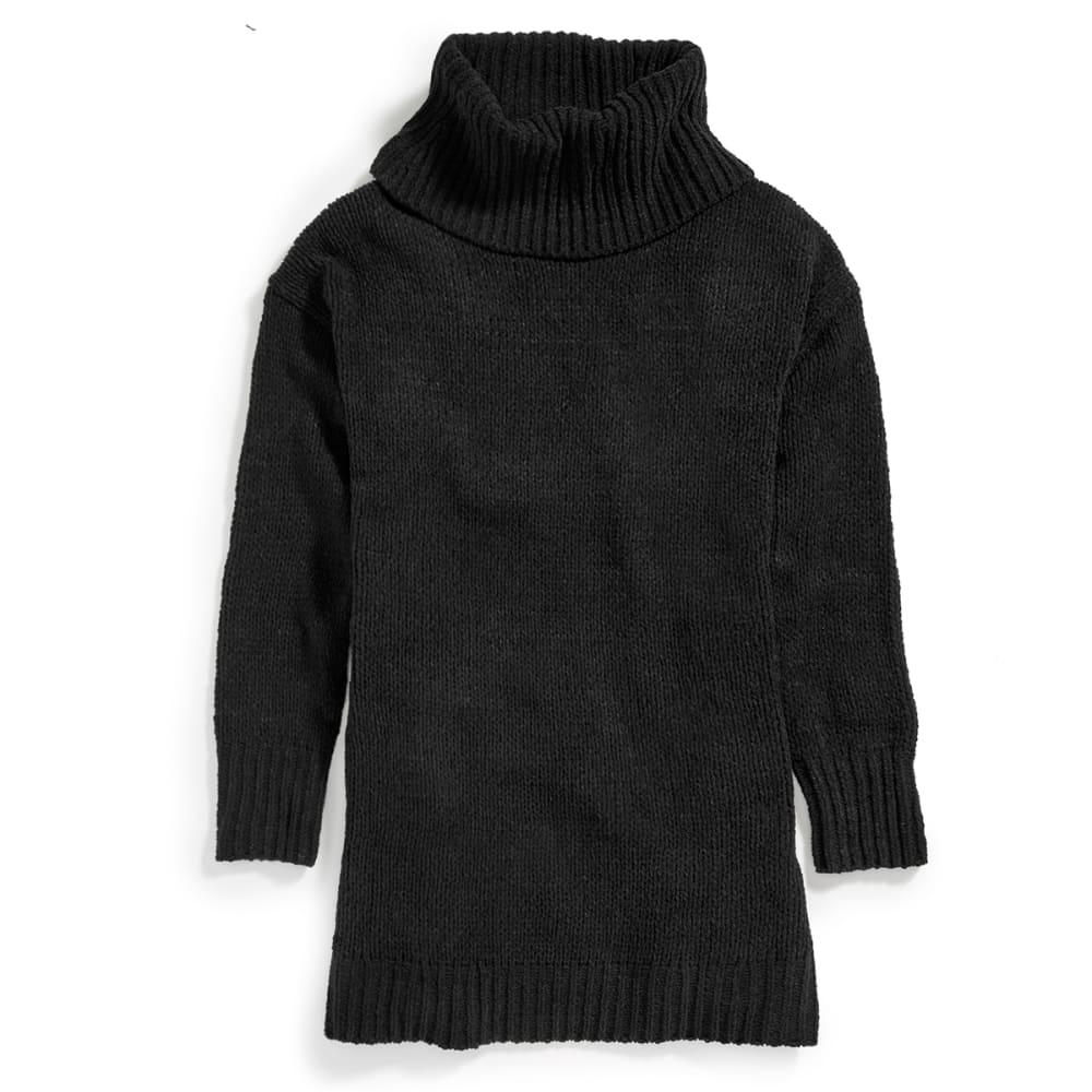 TAYLOR & SAGE Juniors' Chenille Cowl Neck Tunic Sweater - BLK-BLACK