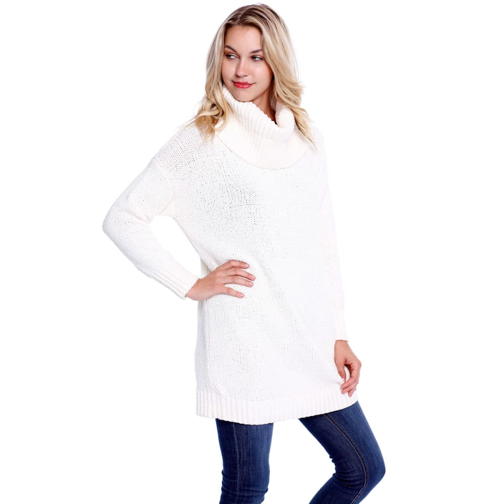 TAYLOR & SAGE Juniors' Chenille Cowl Neck Tunic Sweater - NAT-NATURAL