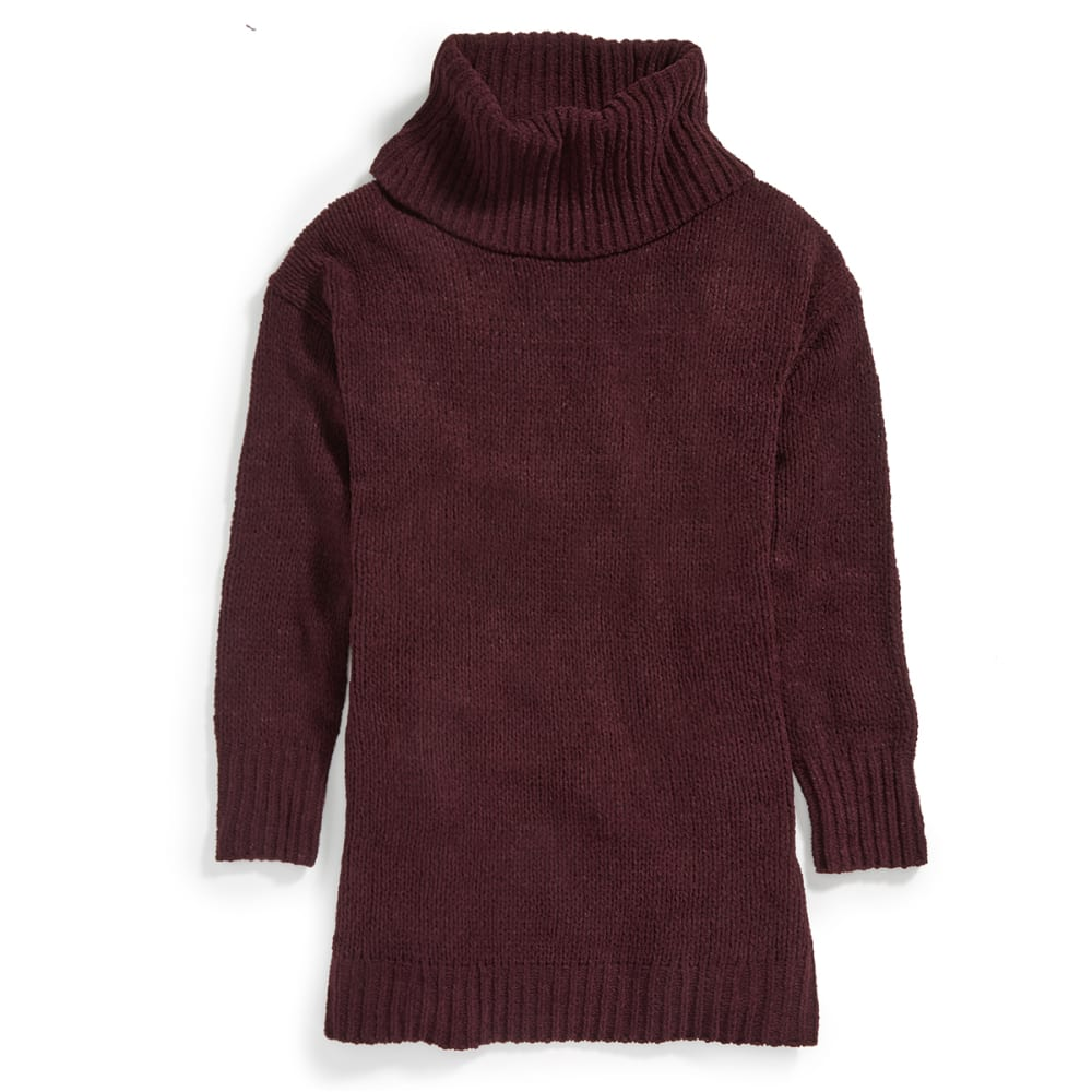 TAYLOR & SAGE Juniors' Chenille Cowl Neck Tunic Sweater - DPM-DEEP PLUM