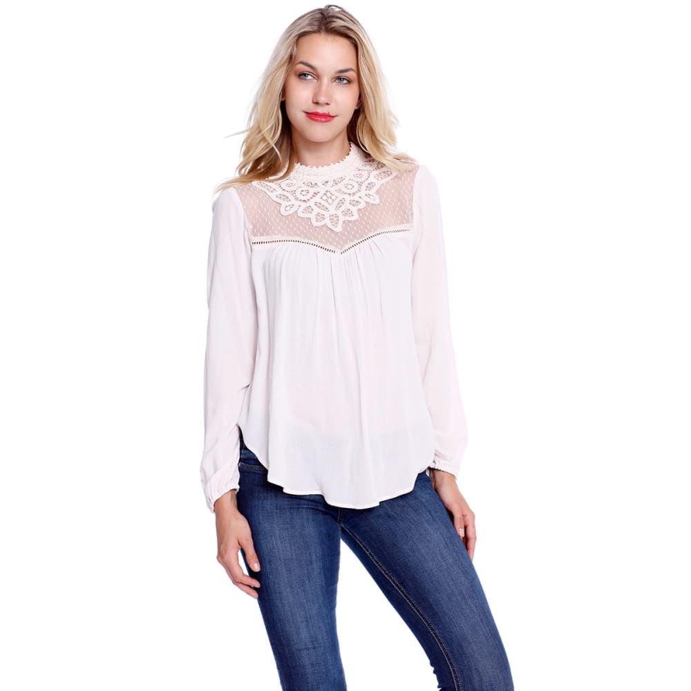 TAYLOR & SAGE Juniors' Mock Neck Lace Top with Circle Hem - NWO-NORWEIGAN WD