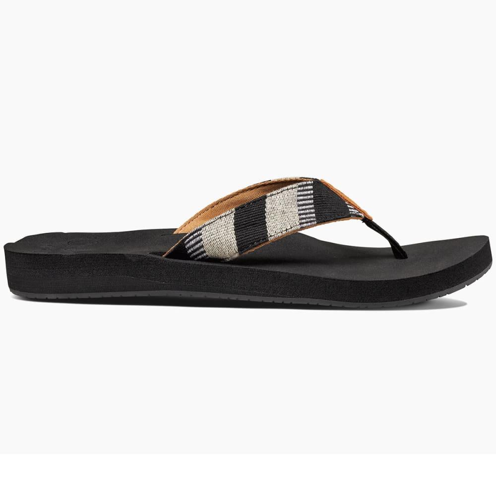 REEF Women's Cushion Threads TX Sandals, Black/White - BLACK/WHITE