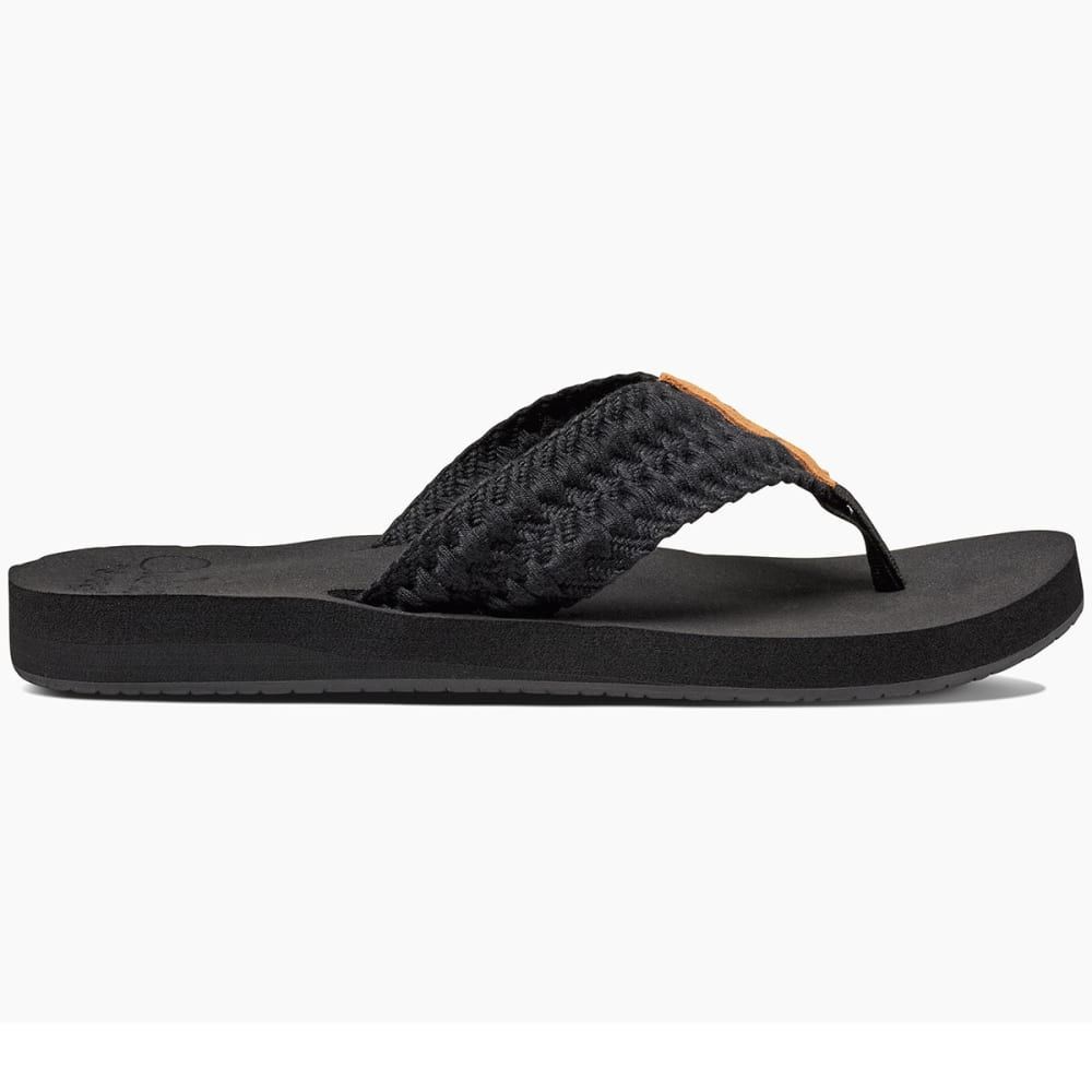 REEF Women's Cushion Threads Flip Flops, Black - BLACK