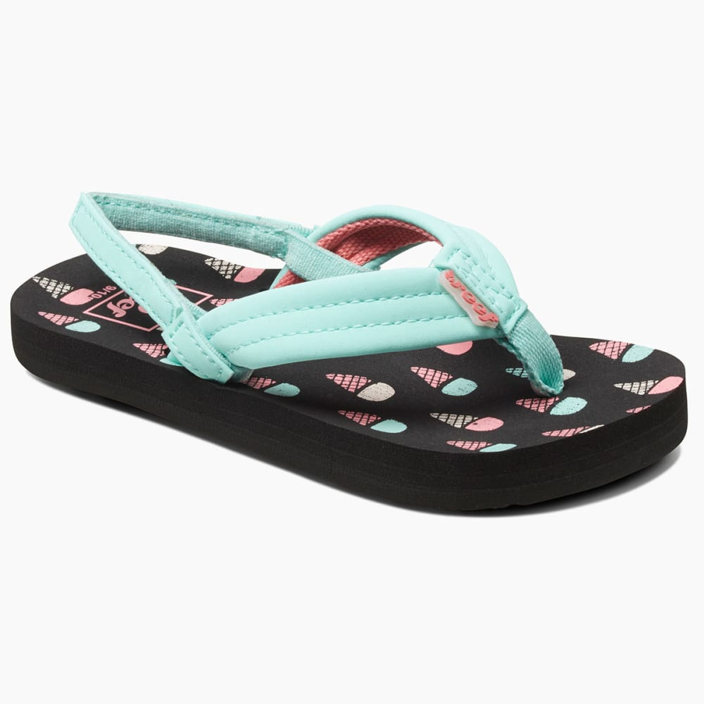 REEF Girls' Little Ahi Sandals, Ice Cream Cones - BLACK