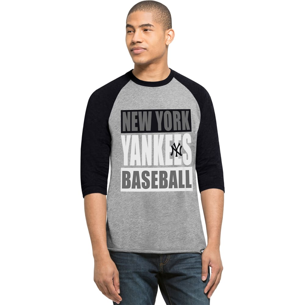 NEW YORK YANKEES Men's '47 Club Raglan 3/4 Sleeve Tee - GREY/NAVY