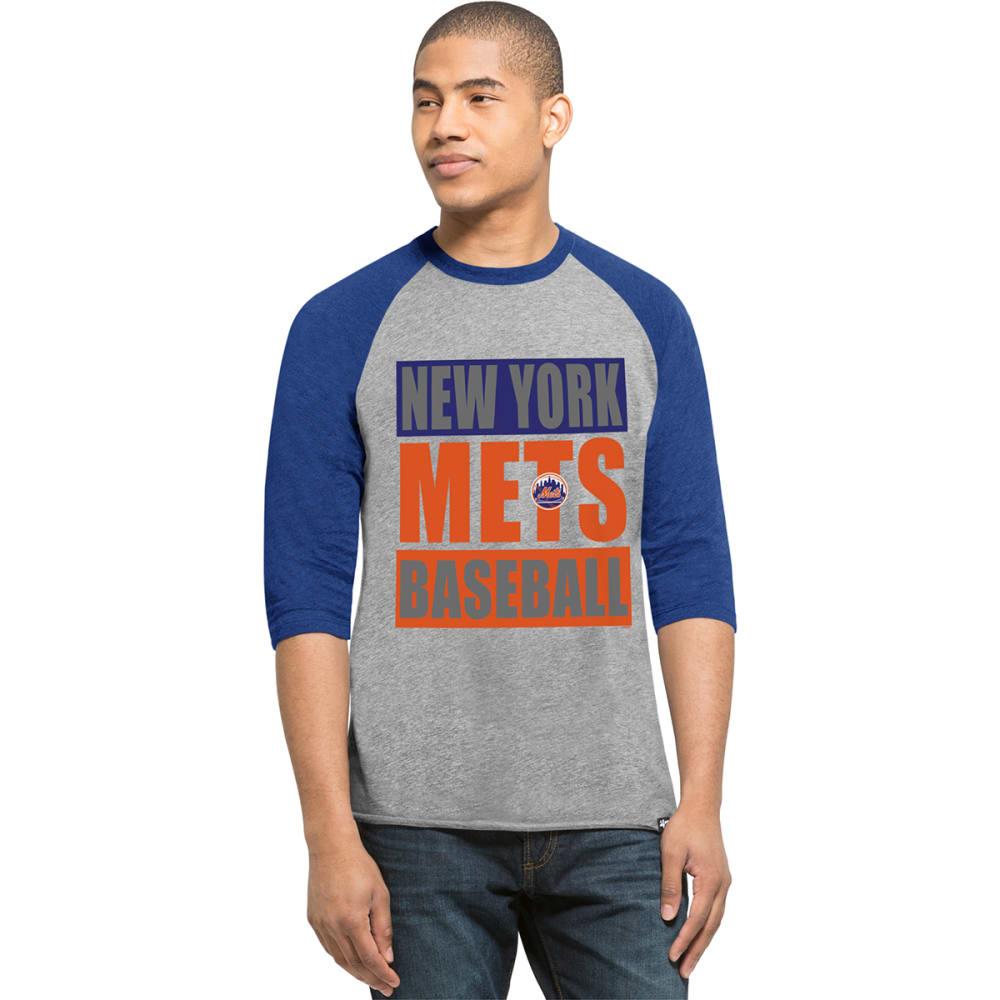 NEW YORK METS Men's '47 Club Raglan 3/4 Sleeve Tee - GREY/ROYAL