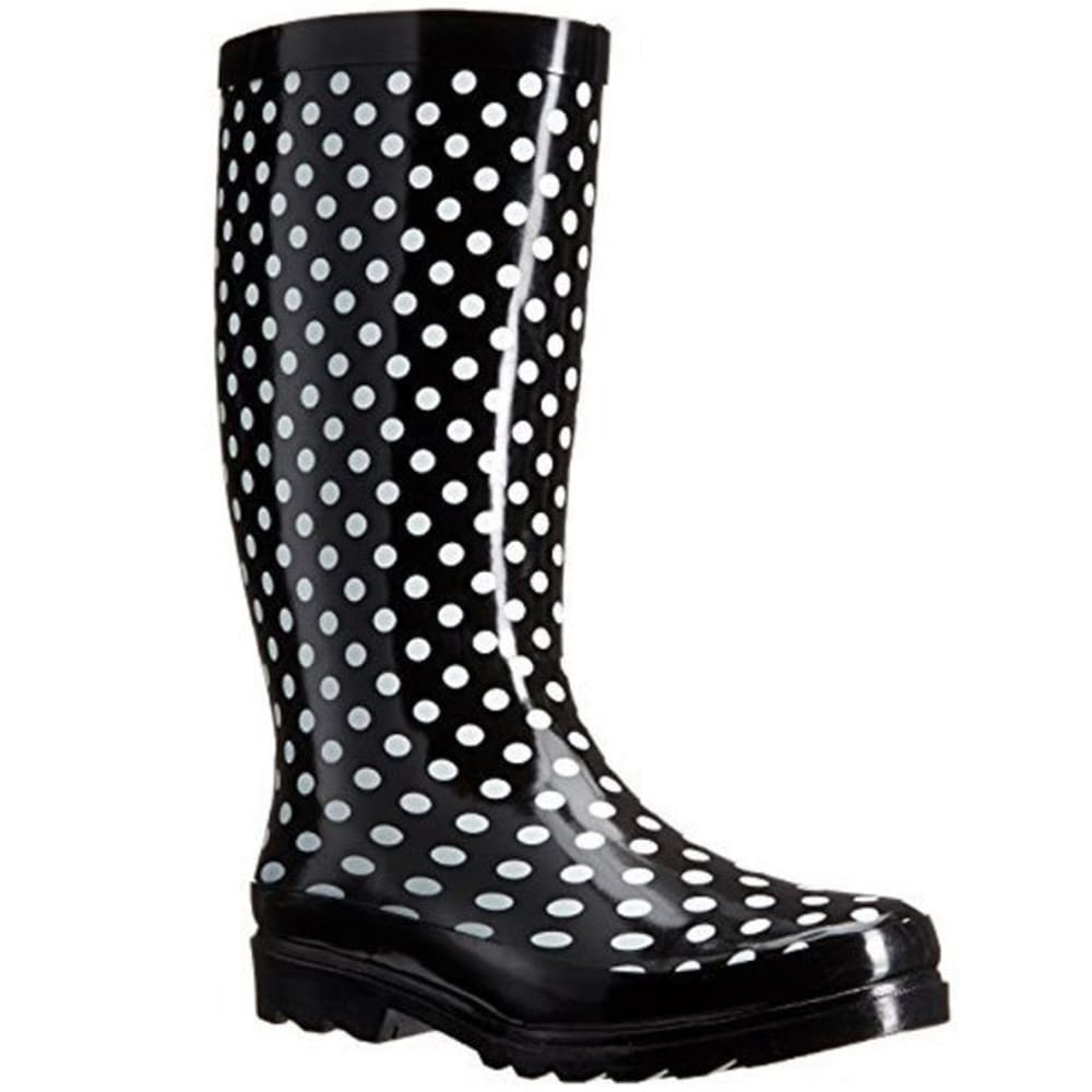 SUGAR Women's Raffle Dot Rainboots - BLACK/WHITE DOT