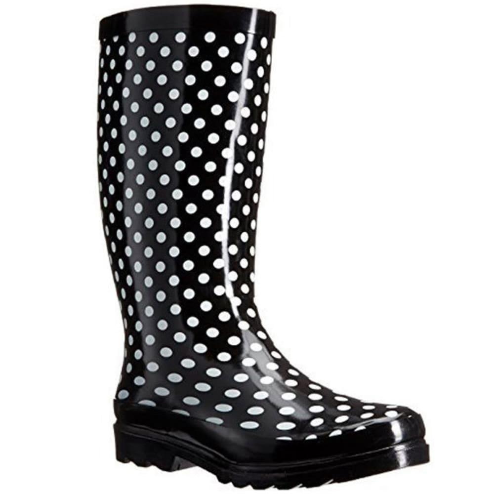 SUGAR Women's Raffle Dot Rainboots - BLACK/WHITE DOT