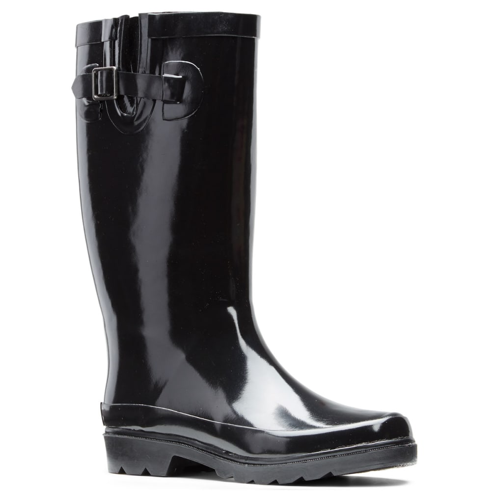 SUGAR Women's Robby Gusset Rainboots, Black - BLACK