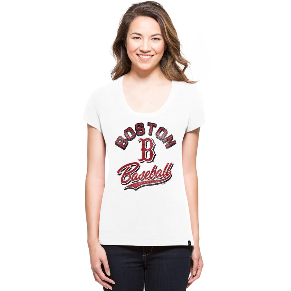 BOSTON RED SOX Women's Knockaround 47 Splitter V-Neck Short-Sleeve Tee - WHITE