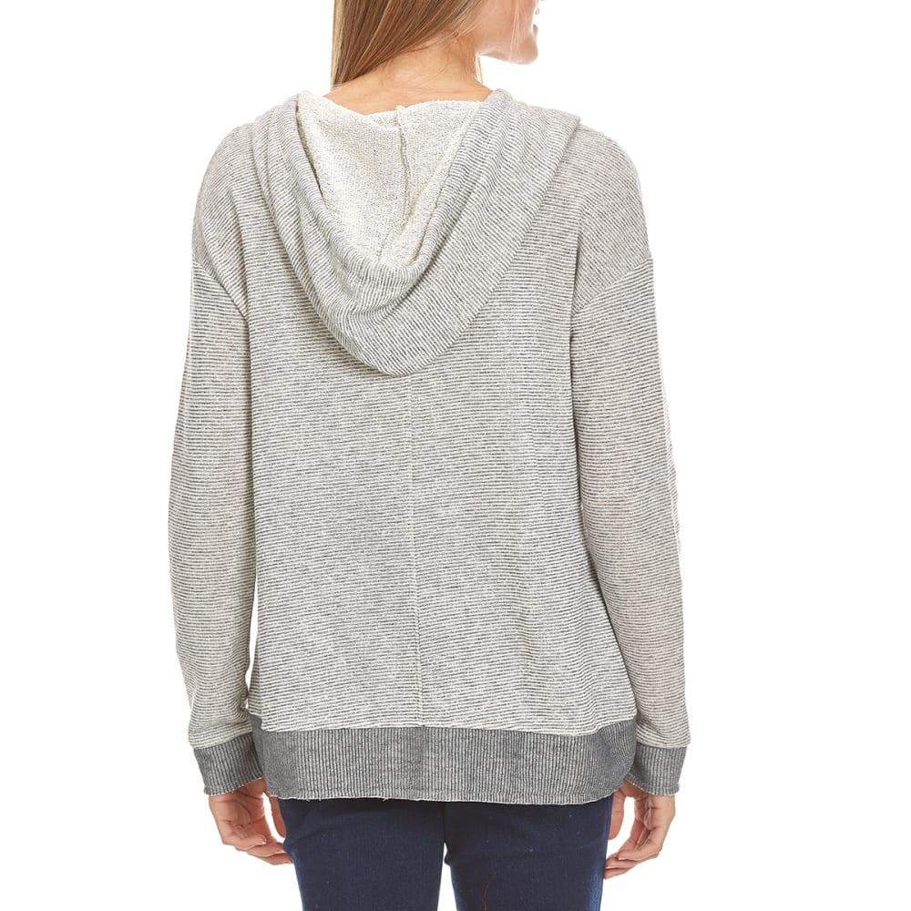 MISS CHIEVOUS Juniors' Double Pocket Stripe Sweater Hoodie - LOOFAH/GREY PEBBLE